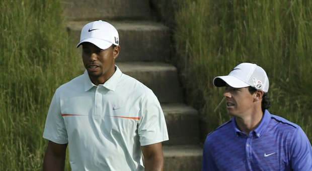 Tiger Woods and Rory McIlroy during the 2013 U.S. Open.
