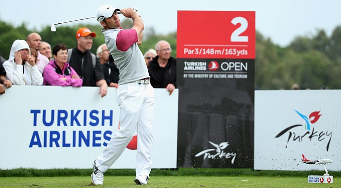 Paul Casey was one of three players tied for the lead at the Turkish Airlines Open when play was suspended on Thursday.
