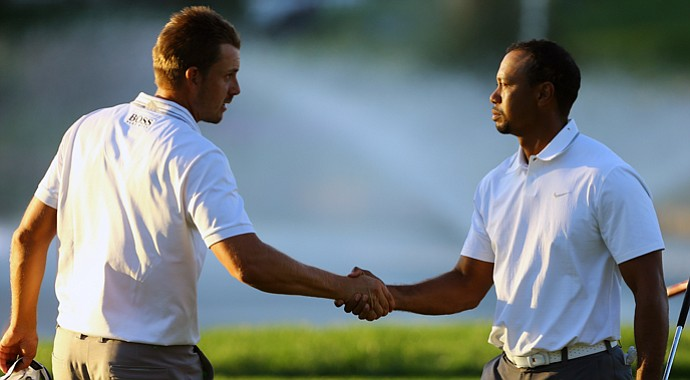 Tiger Woods and Henrik Stenson during the 2013 Turkish Open.