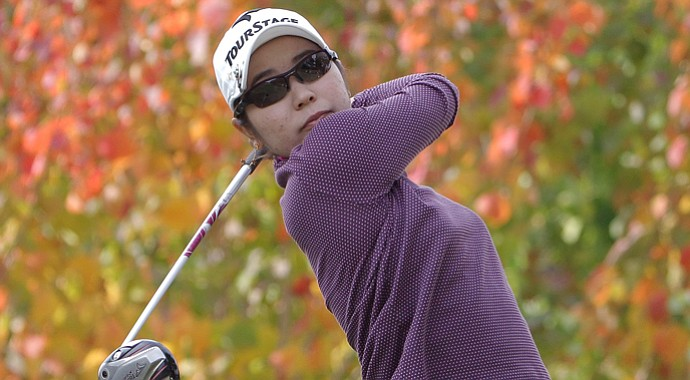 Mamiko Higa is one of three players tied for the lead after the second round of the Mizuno Classic.