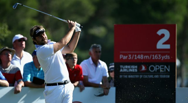 Victor Dubuisson in action during the third round of the Turkish Airlines Open at The Montgomerie Maxx Royal Course.