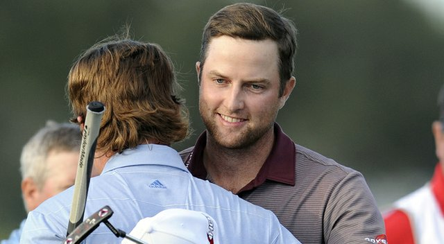 Chris Kirk, right, after edging Briny Baird, left, and Tim Clark to win the PGA Tour's 2013 McGladrey Classic.