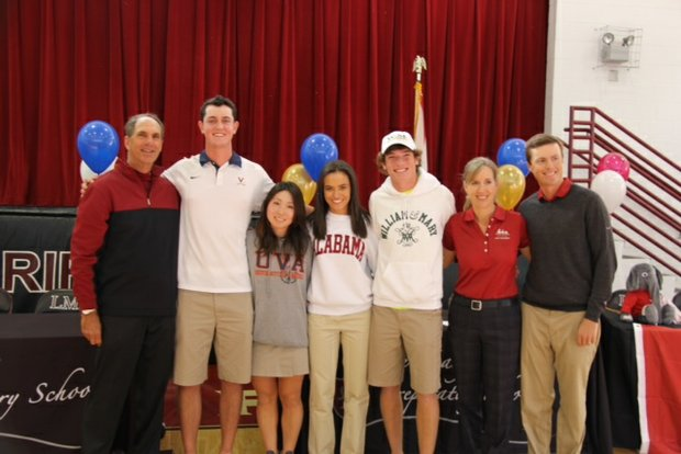 University of Virginia signees Austen Truslow and Maho Hayakawa, Alabama signee Nicole Morales and William and Mary signee Alex Shattuck signed their national letters of intent Wednesday. Their instructor, Mike Bender, is pictured on the far left.