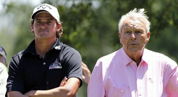 Sam Saunders and Arnold Palmer during the pro-am of the 2011 Wells Fargo Championship on PGA Tour.
