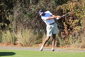 Sam Odi from the University of Virginia hits a shot during the NCCGA Fall National Championship.