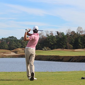 A player goes for the green during the national championship at Barefoot Resort.