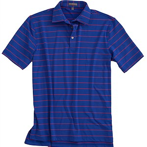 The Signature Stripe Stretch Jersey Performance Polo in Sapphire from Peter Millar is now lighter, faster drying and more comfortable. Price: $85