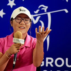 Lydia Ko addresses the media in her first official LPGA press conference as a professional during the CME Group Titleholders at Tiburon Golf Club in Naples, Fla.