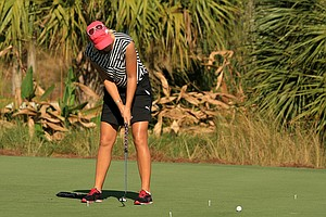 Anna Nordqvist practices her putting on Wednesday at the CME Group Titleholders at Tiburon Golf Club in Naples, Fla.