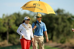 Inbee Park during Wednesday's pro-am with her fiance and coach, Gihyeob Nam at CME Group Titleholders at Tiburon Golf Club in Naples, Fla.