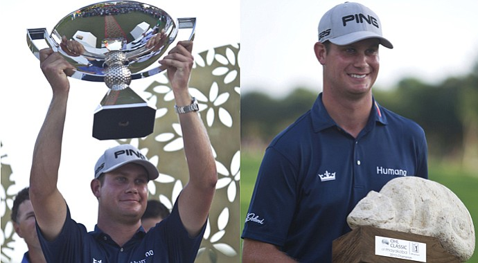 Harris English holds the PGA Tour's FedEx Cup trophy (left) before taking the one he actually won at the 2013 OHL Classic at Mayakoba in Mexico.
