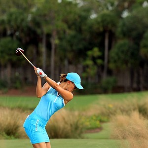 Michelle Wie hits her tee shot at No. 2 during the CME Group Titleholders at Tiburon Golf Club in Naples, Fla.