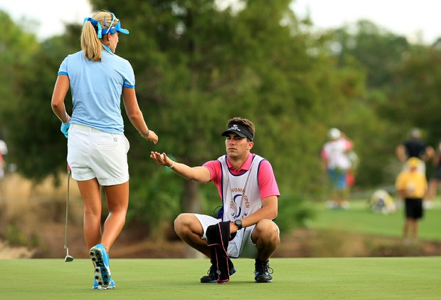Curtis Thompson caddied for his sister Lexi Thompson in the opening round of the CME Group Titleholders at Tiburon Golf Club in Naples, Fla. Curtis plays for Louisiana State University.