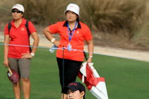 Moriya Jutanugarn hits a shot at No. 17 during the CME Group Titleholders at Tiburon Golf Club in Naples, Fla.