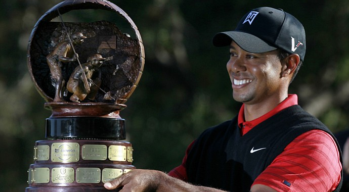 Tiger Woods after winning the World Challenge in 2011.
