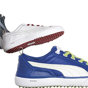 Puma Golf's Monolite golf shoe, a shoe deigned for comfort and style. The new spikeless golf shoe from Puma goes from the tee box to the clubhouse effortlessly. Price: $100