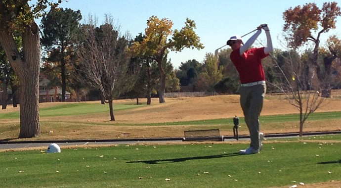 Claremont Mudd Scripps' Brad Shigezawa tees off on No. 18 during the final round of the Western Refining College All-America Golf Classic.