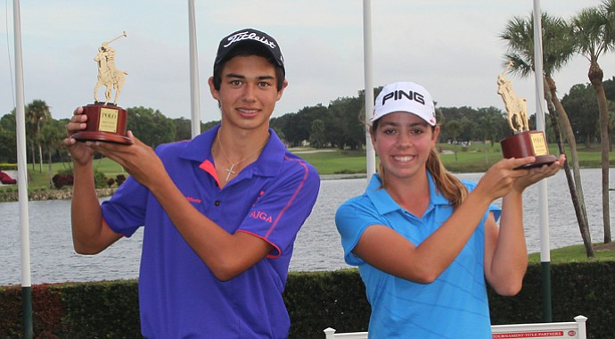 Derek Castillo and Kristen Gillman after claiming stoke-play-medalist honors at the AJGA Polo Golf Junior Classic.