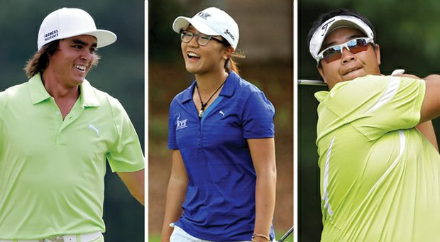Golfweek editor Jeff Babineau is thankful for many things this Thanksgiving, including, from left, Rickie Fowler, Lydia Ko and Kiradech Aphibarnrat.