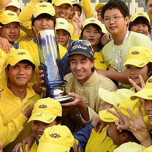 Brett Rumford won the Volvo China Open on May 5 at Binhai Lake in Tianjin, China.