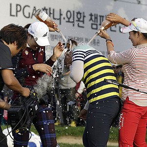 Amy Yang, center, of South Korea won the LPGA KEB-Hana Bank Championship in Incheon, west of Seoul, South Korea, October 20, 2013. Earnings: $285,000