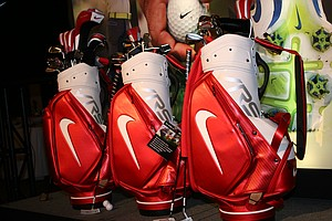 The 2014 staff bags are displayed at Nike Golf's recent Innovation Unleashed event.