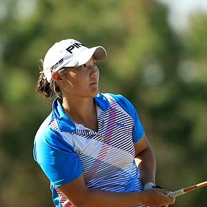 Tiffany Joh watches her shot in Round 2 of LPGA Qschool final at LPGA International. She has posted rounds of 66, 70.