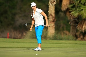 After two rounds Victoria Tanco is tied for 6th after rounds of 68,71 at LPGA Qschool final at LPGA International.