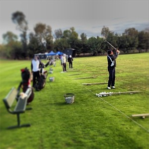The driving range was busy early Saturday morning at Oak Creek in Irvine, Calif. prior to the start of the Industry Cup.