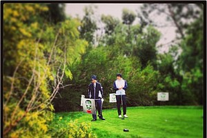 The last group on Day 1 at the Industry Cup takes to the first tee at Oak Creek in Irvine, Calif.