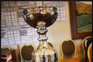 The Industry Cup trophy that 72 players are playing for at Oak Creek in Irvine, Calif.