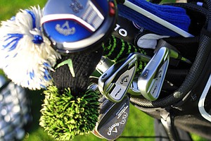 Callaway's Harry Arnett shows off plenty of new gear in his bag at the Industry Cup, including his new Apex irons.