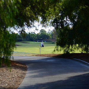 A look at the sixth fairway from the cart path during the final round of the Industry Cup at Oak Creek GC in Irvine, Calif.