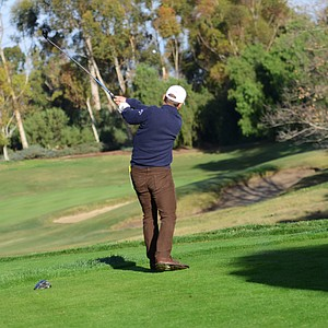 Callaway's Harry Arnett hits his tee ball on the par-3 11th hole during the second round of the Industry Cup at Oak Creek GC in Irvine, Calif.