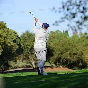 Callaway's Tim Reed hits his tee shot at the par-3 second hole during the final round of the Industry Cup at Oak Creek GC in Irvine, Calif. Reed put the ball to 4 feet.