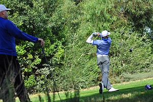 Callaway's Matt Haneline tees off on the fourth hole during the final round of the Industry Cup in Irvine, Calif.