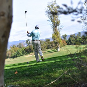 Taylormade's Greg Cesario tees off on the fourth hole during the final round of the Industry Cup in Irvine, Calif.