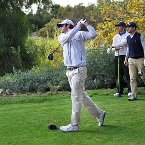 Taylormade's Joe Ryon tees off on the sixth hole during the final round of the Industry Cup at Oak Creek GC in Irvine, Calif.