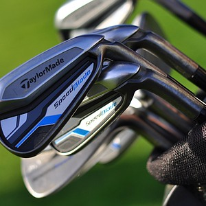 The bag of Taylormade's Brian Bazzell features the new SpeedBlade irons, which he put into use playing alongside Mark King at the 2013 Industry Cup.