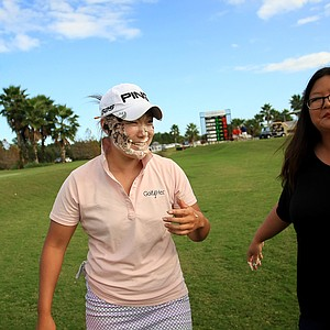 Christina Kim smashed a cupcake into birthday girl, Tiffany Joh's face after she completed LPGA Qschool final at LPGA International.