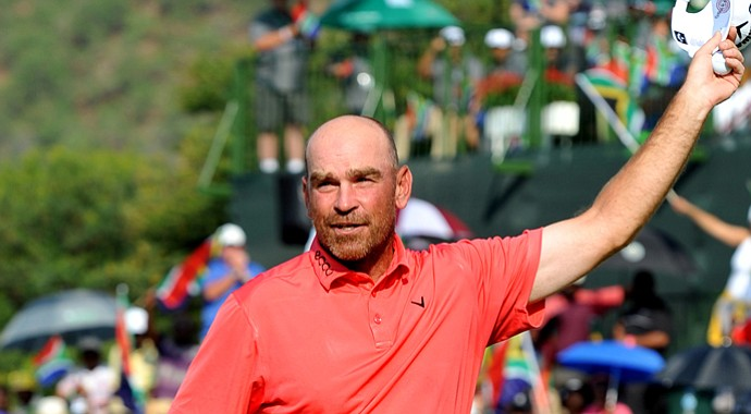 Thomas Bjorn after his win at the 2013 Nedbank Golf Challenge in Sun City, South Africa.