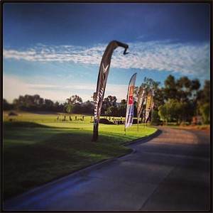 The driving range prior to the start of the second round at the 2013 Industry Cup in Irvine, Calif.