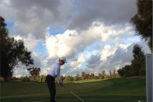 Titleist's Grant Martens won the Long Drive competition at the Industry Cup in Irvine, Calif.