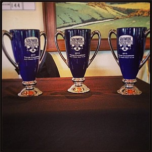 The first-place trophies for the Industry Cup winners.