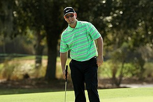David Duval while playing with his step-son Nick Karavites on Wednesday of the PNC Father/Son Challenge at The Ritz Carlton Golf Club of Orlando.