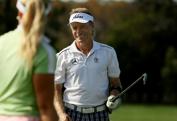 Bernhard Langer on the range with his daughter, Christina Langer, on Wednesday of the PNC Father/Son Challenge at The Ritz Carlton Golf Club of Orlando.