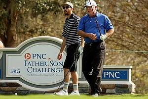 Mark O'Meara with his son Shaun O'Meara out for a practice round on Wednesday of the PNC Father/Son Challenge at The Ritz Carlton Golf Club of Orlando.