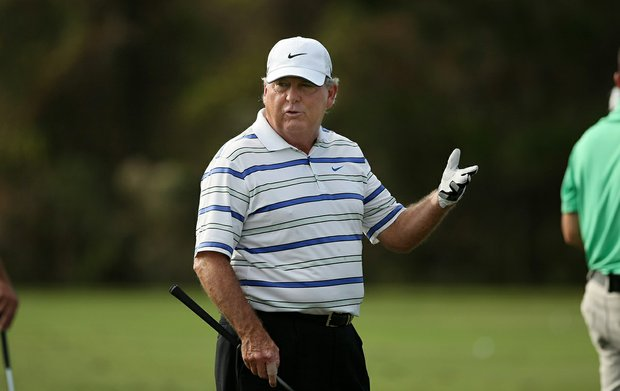 Lanny Wadkins on the range on Wednesday during the PNC Father/Son Challenge at The Ritz Carlton Golf Club of Orlando.