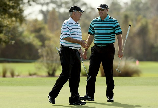 Dave Stockton and his son, Dave Stockton Jr., at the PNC Father/Son Challenge at The Ritz Carlton Golf Club of Orlando.