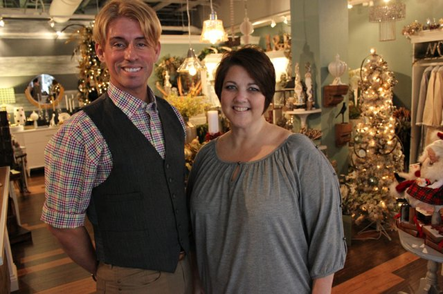 Christmas cheer is everywhere at Hannibal Square's newset shop. Manager Chris Scott and sales associate Kim Whittaker help shoppers find the best gifts for all occasions at Lafayette & Rushford.